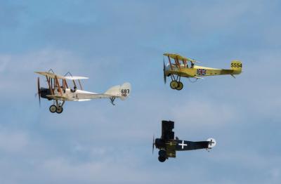 WW1 RAF BE2, Bristol Scout and Fokker Triplane